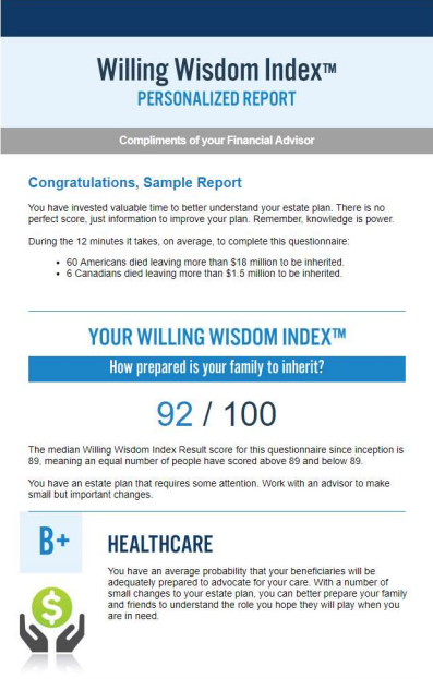 Sample Willing Wisdom Index Report